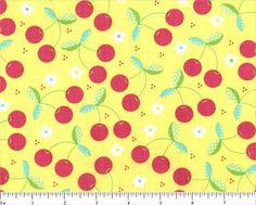 VINTAGE sTYLE Sunshine Cherries Fabric by by DorothyPrudieFabrics, $3.75