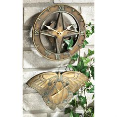 Handcrafted, bronze-finished Butterfly Thermometer or Sundial Clock, SAVEBIG!