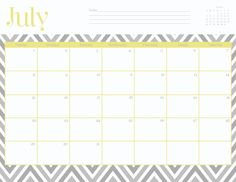 Free monthly calendar templates. This site has lots of super cute printables, including notecards, thank you cards, and calendars.