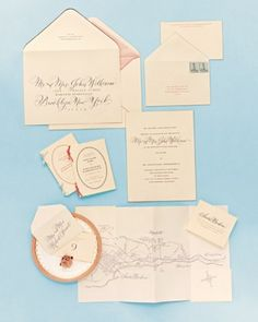 """Lily & John's invitation See the """"Stationery"""" in our A Traditional Pale-Blue-and Pink Wedding at Home in California gallery"""