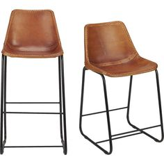 roadhouse leather bar stools $269 from CB2 before discount - could be a nice way to bring the warmth of leather into the kitchen/living room area without splurging on an expensive leather sofa