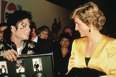 Princess Diana with American pop star Michael Jackson at his concert for the Prince's Trust at Wembley London July 1988
