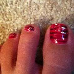 My zebra toenails! Get Nails, Hair And Nails, Toenails Painted, Mani Pedi, Manicure, Beauty Stuff, Hair Beauty, Mobile Nails, Pedicure Colors