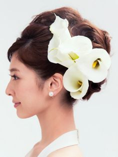 Wedding Hair And Makeup, Wedding Beauty, Hair Makeup, Headpiece Wedding, Wedding Updo, Geisha Hair, Wedding Hair Inspiration, Flowers In Hair, Flower Hair