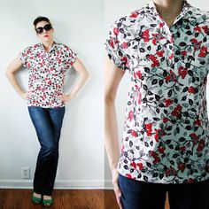 VINTAGE 1970s MOD Black and Red Bird & Berry Blouse Short Sleeves  by MyGrayCatVintage, $15.00