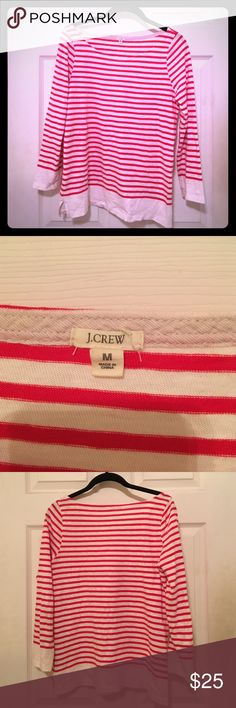 J.Crew striped boat neck top J.Crew boat neck top, red and white stripes. Very lightweight and summary. Would look great with navy blue shorts and sandals. J. Crew Tops Tees - Long Sleeve