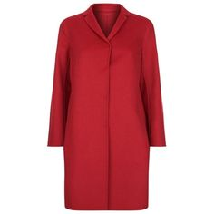 Max Mara Hemma Single-Breasted Double Face Wool-Angora Coat featuring polyvore, women's fashion, clothing, outerwear, coats, woolen coat, red coat, reversible wool coat, lightweight coat and single-breasted trench coats
