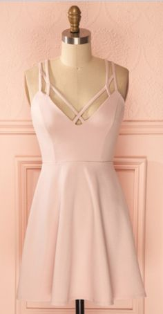 Cheap A-Line Straps Criss-Cross Straps Short Pink Satin Homecoming Dresses