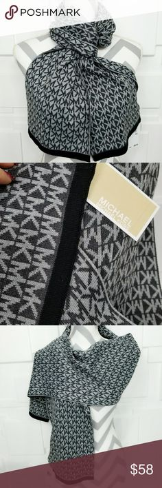MICHAEL KORS SCARF *gray toned with black trim* Trusted SellerSuggested User Authentic MICHAEL Kors  Brand new with tags  Fabulous & chic Michael Kors light and dark gray with black trim scarf. Make this fabulous scarf a staple item for your winter wardrobe or give it as a gift to someone you care for!  More fabulous MK accessories in my closet  Shop with confidence Same day shipping 5 star rated closet  Christmas holiday stocking stuffers present birthday anniversary hat beanie MK Scarves…