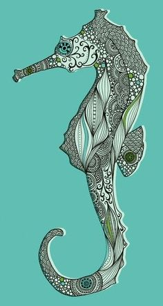 Zen tangle seahorse with color