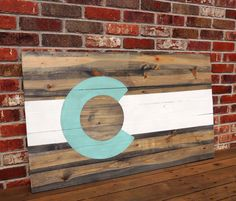 Custom Color Colorado Flag Wall Art - Hand Painted - Distressed - Beetle Kill Pine - Sign by TimberSigns on Etsy