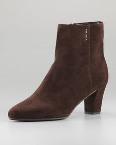Mid-Heel+Suede+Ankle+Boot,+Brown+by+Prada+Linea+Rossa+at+Neiman+Marcus.