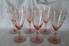 "6 Etched Pink, Optic Panel, Depression Glass Water / Wine Glasses, 7"" Tall"