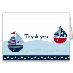 Shop Sail Away Sailboat Nautical Thank You Note Cards created by little_prints. Birthday Party Themes, Birthday Invitations, Birthday Cards, Nautical Cards, Nautical Baby, Thank You Note Cards, Custom Thank You Cards, Used Sailboats, Craft Gifts