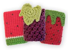 "Pattern available to buy for these cute ""Fruit iPod Cozies"" by Gleeful Things."