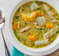 Caribbean Soup with chicken, coconut milk and pumpkin