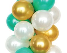 Balloon Bouquets Gold Balloons Peach & Green by LuftBalloonStore
