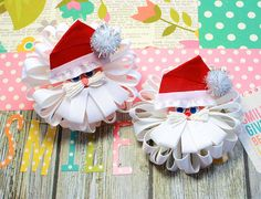 Christmas Hair Bows / Christmas Hairbows / Santa Boutique Hair Bows / Ready to Ship Hair Accessories on Etsy, $14.00