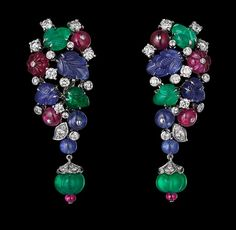 TUTTI FRUTTI EARRINGS ~ Platinum, sapphire, ruby and emerald beads, sapphire and emerald carved leaves, brilliants.