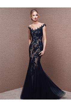 Mermaid Illusion Neckline Cap Sleeve Long Navy Blue Tulle Lace Evening Dress