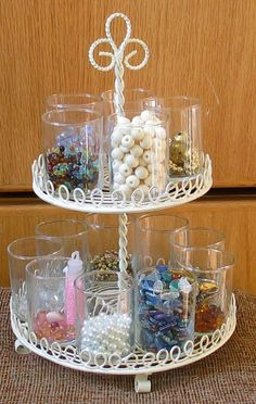 BluKatKraft: Bead Storage/ Craft Room Ideas: love this idea for cabachons and resins and small rhinestones!!