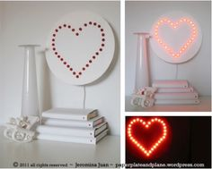 DIY Home decor: Heart wall lamp Valentines Bricolage, Easy Valentine Crafts, Valentine Decorations, Valentine Heart, Diy Wand, Diy Décoration, Easy Diy, Diy Crafts, Clever Diy
