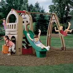 Create your very own outdoor kids playground in your backyard with this combination swing set, playhouse, and climber from