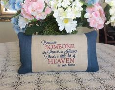 I made this pillow for myself in remembrance of my father. On the back I appliqued a small heart using a piece of fabric from his clothing. Contact me to have a Custom Made remembrance pillow made for you and your loved ones. https://www.etsy.com/shop/custommadebypam