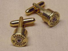 Bullet Cufflinks 38 Special Brass Gold - Wedding Gift for Groomsmen