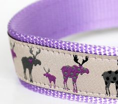 Purple Moose Dog Collar / 1 inch width / Big Dog Collar / Polka Dots. $21.50, via Etsy. -- That's more like it!  A purple moose collar because our Moose Baby's a girl!
