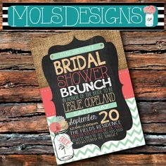 Any Color BRIDAL SHOWER BRUNCH Mason Jar Baby by MolsDesigns