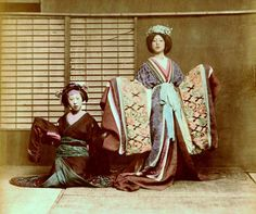 Here are a couple of Dancing Girls in a spectacular 1870s hand-tinted albumen photograph by Baron von Stillfried, taken in his early Yokohama, Japan studio.