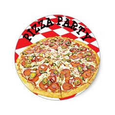 #Pizza Party Birthday Stickers - #giftideas for #kids #babies #children #gifts #giftidea