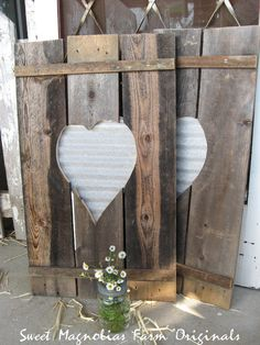 Wood Shutters Corrugated Metal Heart by SweetMagnoliasFarm