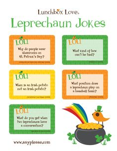 Free Leprechaun joke printables--perfect for lunches leading up to the holiday or spread around the house/classroom wherever the leprechaun may roam. St Patricks Day Jokes, St Patricks Day Crafts For Kids, Saint Patricks, March Crafts, St Patrick's Day Crafts, Kids Crafts, St Patrick Day Activities, Brenda, Irish Blessing