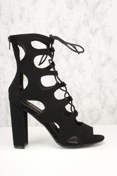 48832f3f9ad Sexy Black Lace Up Open Toe Chunky High Heels Booties Nubuck