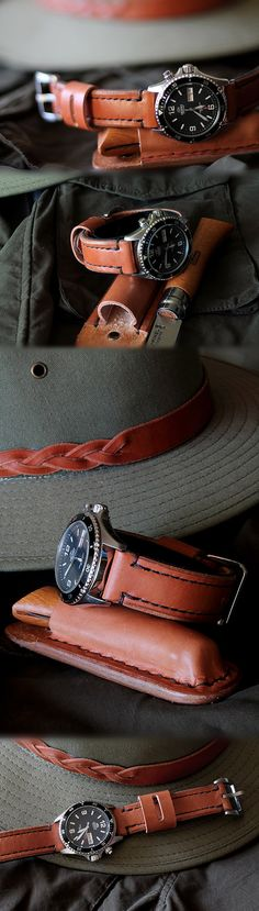 Hand made leather watch strap, knife sheath and hat band.