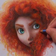 The beautiful Merida! By :) _ Check out for more art :) Colored Pencil Artwork, Colored Pencils, Cartoon Girl Drawing, Cartoon Drawings, Drawing Girls, Copic Drawings, Art Drawings, Pencil Drawings, How To Draw Hair