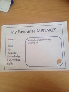 Neat acronym for Mistakes! Growth Mindset. Refreshing way to talk to the kids about mistakes