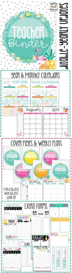 Tropical Flamingo Teacher Binder & Planner Pack. You'll love how organized bright this binder is! Great for any grade level you teach!