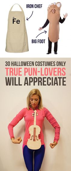 30 Halloween Costumes Only True Pun-Lovers Will Appreciate: iron chef, big foot, fit as a fiddle and more Can you get through this post without groaning to death? Meme Costume, Pun Costumes, Group Costumes, Pun Party Costume, Family Costumes, Woman Costumes, Couple Costumes, Pirate Costumes, Funny Costumes For Kids