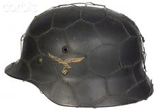 WW2, Nazi Germany, Luftwaffe M35 helmet with chicken wire covering