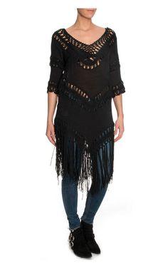 Topp Arizona Fringe Long BLACK - FAV - Designers - Raglady