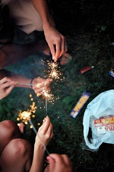 Friends and sparklers.