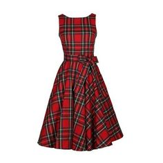 Sleeveless Plaid Print Belted Red Dress (105 PEN) ❤ liked on Polyvore featuring dresses, red, print dress, belted dress, red sleeve dress, red dress and red plaid dress