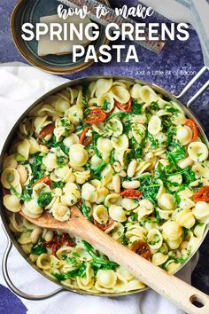 Learn how to make a simple spring greens pasta with whatever greens, pasta, beans, and herbs you have on hand to make a delicious sauce and quick dinner. Vegetarian Dinners, Vegetarian Recipes, Food Dishes, Main Dishes, Red Kale, Farmers Market Recipes, Homemade Pasta, Meal Deal, Spring Recipes