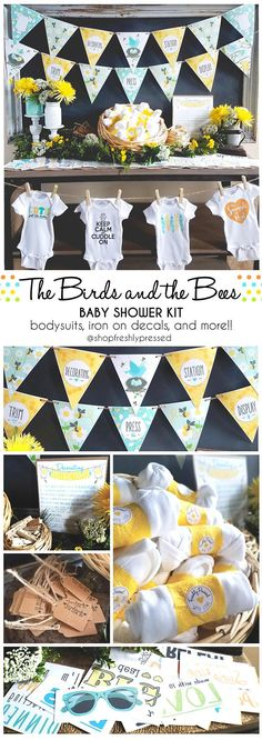 Made for that Mama to Bee!!  This Birds and the Bees Iron-On decorating kit will happily entertain you Baby Shower guests with some Do-It-Yourself fun! In lovely shades of golden yellows and soft turquoise, it's also perfectly themed for those hosting Gender Neutral showers. With 3 sizes to choose from (SM, MD, LG), there's a kit for every size shower. No need to stress over printing, assembling, or hunting down supplies. Carefully crafted, these kits have everything you need to make…