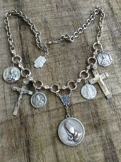 Upcycled Vintage Multi Religious Medals Assemblage Necklace,OOAK,Repurposed,Rhinestone,Religious Necklace on Etsy, $82.00