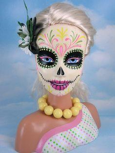 Dia de los Muertos makeup inspiration - I will totally let Helen do this to her Barbie.
