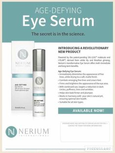 An advanced, multifunctional age-fighting Eye Serum for day and night use that delivers short- and long-term benefits. Users showed immediate reduction in the appearance of crow's feet, puffiness and dark circles. Anti Aging Cream, Anti Aging Skin Care, Nerium Pictures, Face Lines, Loose Skin, Eye Serum, Face Skin Care, Cool Eyes, Be Yourself Quotes